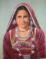 water color silk Rajasthani Lady Paintings