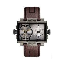 Leather Dual Time Watch Brown