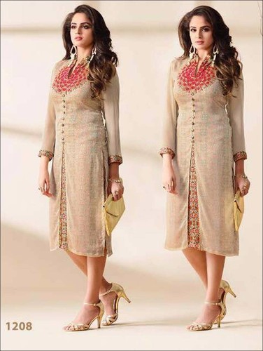549f54f7e52 XL Chiffon Designer Stitched Party Wear Long Kurtis