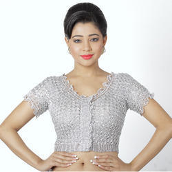 Abhi Crochet Silver Blouse with Half Sleeves