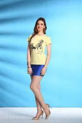 Printed Cotton ST-1680 Ladies Yellow Top, 150 Gsm