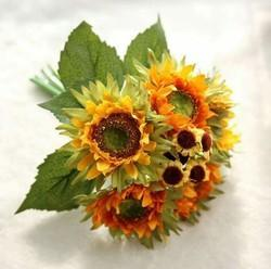 Plastic Artificial Three Heads Sunflower