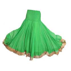 Georgette Smocked Panelled Long Skirt