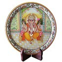 Marble Ganesha Design Round Plate MB200