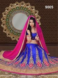 Designer Blue & Pink Thread Work Eid Special Lehenga Choli