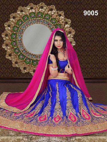 f140c12faa Designer Blue & Pink Thread Work Eid Special Lehenga Choli, Rs 2295 ...