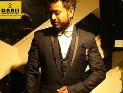 Black Regular Fit Men Suit, Authentic New Designer Piece