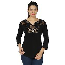 Women Cotton Black Plain Embellished Top