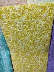 Chikan Yellow Saree