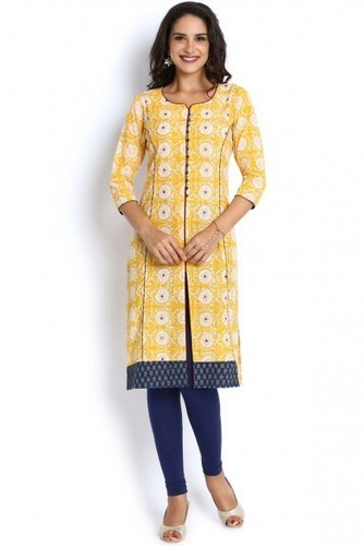 4fe8838c152 Navy Cotton Straight Kurti