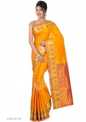 ae26462fef1187 Mustard Kanchipuram Silk Saree