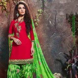 Cotton Deep Scarlet Color Palatial Punjabi Dress