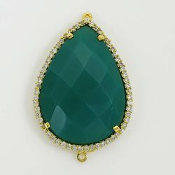 Green Onyx Pear Shape Cz Pave Connector