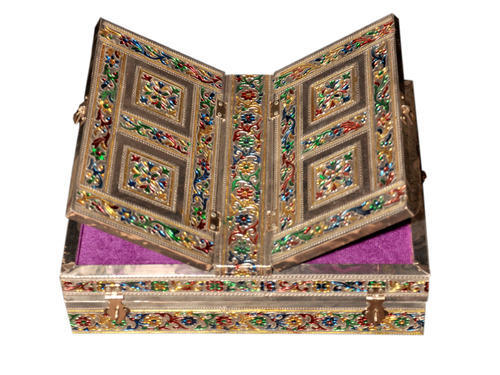 Wooden Handicraft Meenakari Pooja Quran Book Stand Rest, Packaging Type: Box