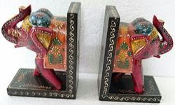 Non-Branded Multicolor Hand Painted Wooden Book End