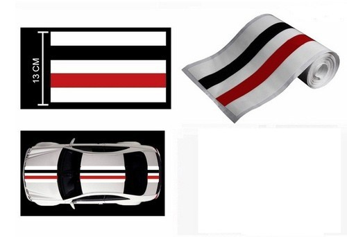 Speedwav car racing stripe graphic sticker slim red black hyundai xcent