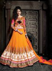 Viva N Diva Orange Colored Pure Net Lehenga
