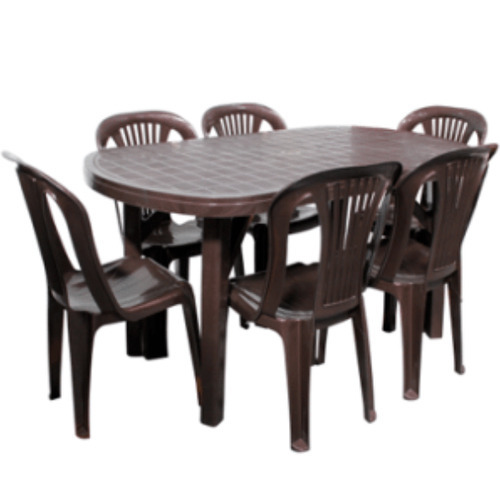 Ovel Brown Dezire Plastic Dining Table Set Rs 2413 Piece