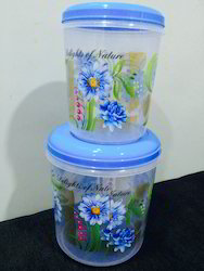 Plastic Flower Printed Round Container