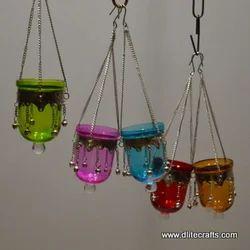 Glass Hanging T-Light Lantern