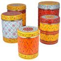 Hand Painted Steel Storage Container (set Of 50)