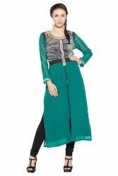 Women's Kurta Tunic Designer Printed Green Long Kurti