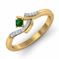 Hallmark Green Stone Gold Diamonds Ring