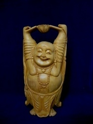 Wooden Happy Laughing Buddha
