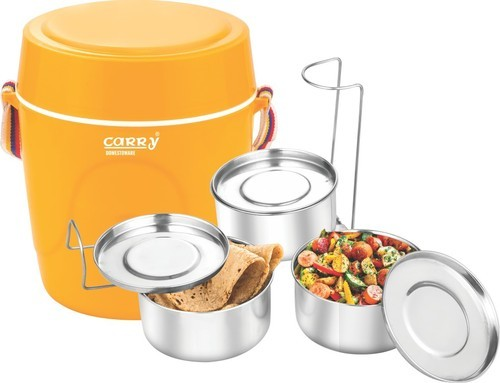 Carry Red and Yellow True Lunch 3 Tiffin