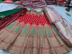 Semi-Stitched Red Bridal Lehenga