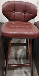 Wooden Bar Stool with Leather Cushion