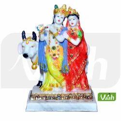 Multicolor Resin Cow Showpiece Radha Krishna Statue