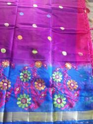 Phulkari Net Embroidered Saree, With Blouse Piece