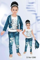 Girls, Baby Girls Girls Trendy Denim Jacket with Denim Pant and Inner