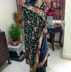 Ramzan Marriange Parsi Garas Silk Hand Embroidery Georgette Silk Sarees