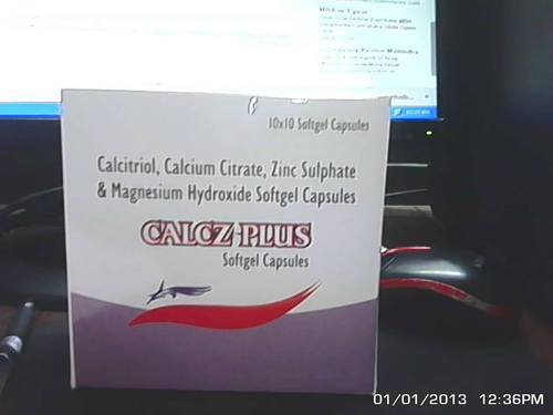 Calc Soft Red Yellow Calcitrol 25mg Calcium Citrate USP 1000mg Zinc Sulphate, Packing Size: 10*10, Packaging Type: Blister