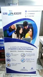 Silver Roll Up Standee, Size: 6'x3'
