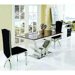 Gaur Steels Steel Dining Table, for Hotel, Size: 1500 X 900 X 750 Mm
