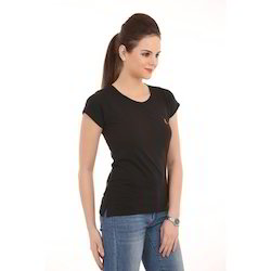 Ladies Black Round Neck T-Shirts