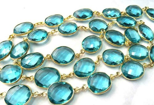 Gemstone Bezel Connector Chain - Blue Chalcedony Oxidized Station Chain Manufacturer from Jaipur