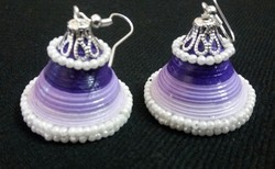 Quilled Purple White Pearl Earring