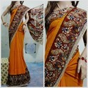 Cotton Casual Wear Orange Kalamkari Saree, 6.3 M (with Blouse Piece)