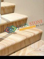 Teak Wood Sand Stone Steps