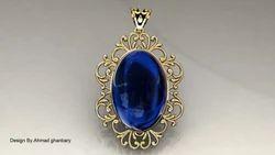 Blue Sapphire Gold Pandent