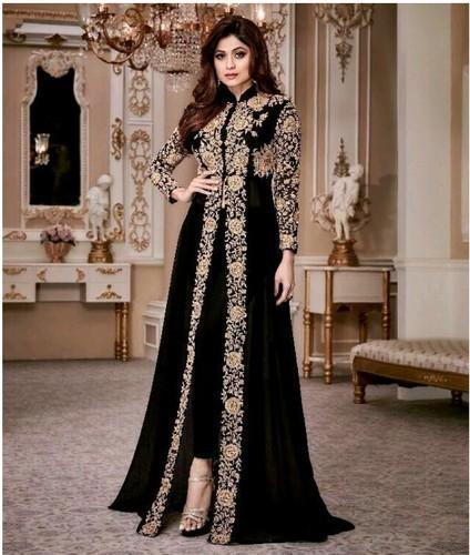 98492d0c45 Black A-Line Suit Designer Suit, Rs 1500 /piece, Lotus Clothes ...