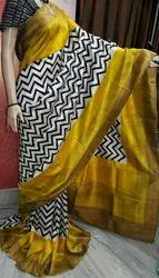 Printed Murshidabad Silk Saree, 6.3 m (with blouse piece), Hand Made