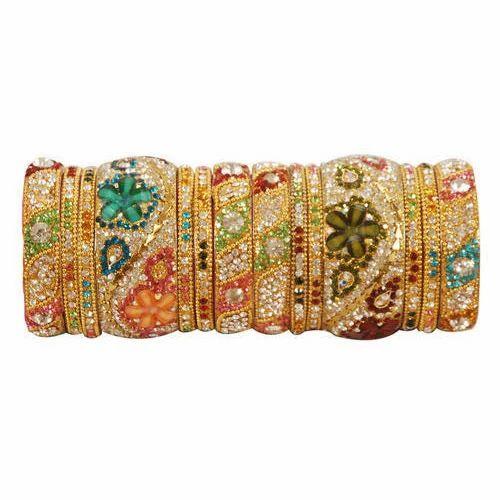 Bridal & Wedding Party Jewelry Engagement & Wedding Designer Ethnic Silvertone Women Bracelet Bangle Set Traditional Jewelry 2*6