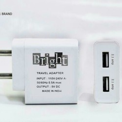 Bright 2.1 Amp Dual USB Charger Adapter