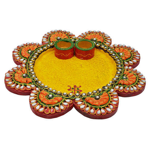 Kundan Work Wooden Paper Mache Flower Shape Pooja Thali At Rs 999