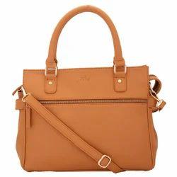 Yelloe Tan Ladies Smart Evening Handbag with Multi Pockets